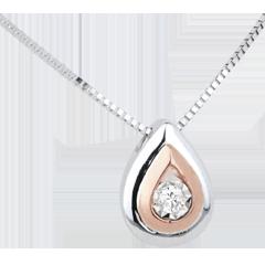 Halsketting Rendiertraan - 18 karaat witgoud rozégoud met diamant
