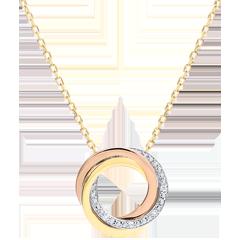 Halsketting Saturnus - 3 goudkleuren - diamanten - 9 quilates