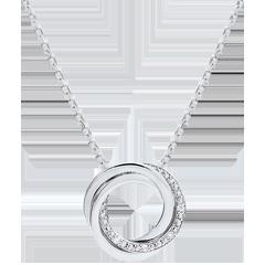 Halsketting Saturnus - 9 karaat witgoud - Diamanten