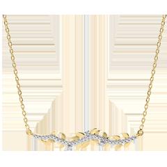 Halsketting Verrukte Tuin - Gebladerte Royal - 9 karaat geelgoud met Diamanten - 9 karaat