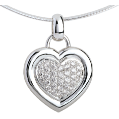 Hanger 18 karaat witgoud bezet hart - 0.75 karaat - 31 Diamanten