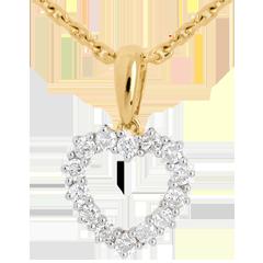 Hanger Gekarteld Hart - 18 karaat geelgoud - 0.25 karaat 14 Diamanten