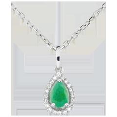 Hanger Indische Peer - Smaragd - 9 karaat witgoud