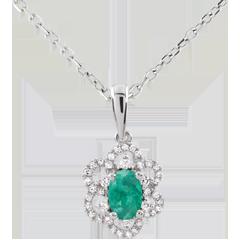 Hanger Maguerite Prinses - Smaragd - 9 karaat witgoud