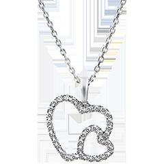 Hanger Overvloed - Dubbele harten - 9 karaat witgoud met diamanten