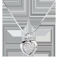 Hanger Wit Goud Sweet Heart - 18 Diamanten - 0.2 karaat