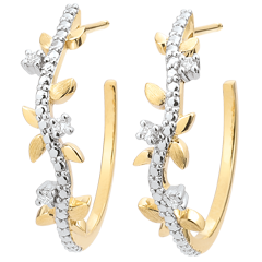 Hoop Earrings Enchanted Garden - Foliage Royal - yellow gold and diamonds - 9 carats