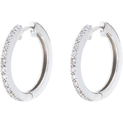Hoops semi-paved white gold - 26 diamonds