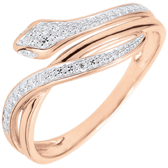 Imaginary Walk Ring - Bewitching Serpent - rose gold and diamonds - 18 carats