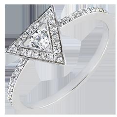 Inel Abundenţă - Gravitate - aur alb 18K şi diamante