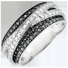 Inel Clar Obscur - Umbră - aur alb de 9K şi diamante neagre