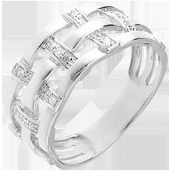 Inel cusătură din aur alb de 18K pavat cu diamante - 11 diamante