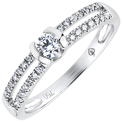 Inel Feerie - Logodnă Nobilă - aur alb 9K şi diamante