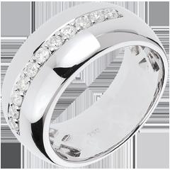 Inel Feerie - Strălucirea lunii - aur alb de 18K - 11 diamante : 0.37 carate.