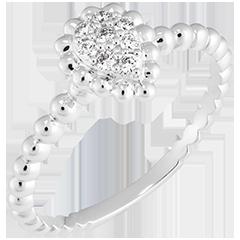 Inel Floare de Sare - Lacrimă perlată - aur alb de 9k și diamante