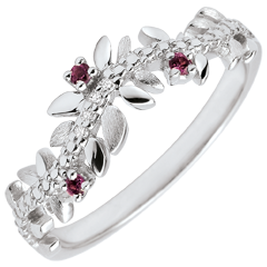 Inel Grădină Fermecată - Frunziş Regal - aur alb de 9K, diamante şi rodolit