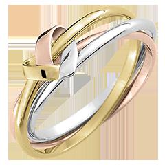 Inel Inimă Împăturită 3 inele - 3 nuanțe de aur de 9K