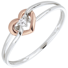 Inel Iubita Mea - diamant - aur alb şi aur roz de 18K