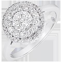 Inel de logodnă Destin - Dublu halo nefațetat - Aur alb de 9k și diamante