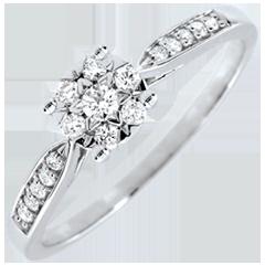 Inel Mlădiere Regală sferă pavată - 0.12 carate - aur alb de 18K