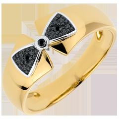 Inel Nod Amélia aur galben de 9K şi diamante negre