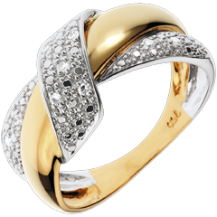 Inel Nod Dublu - aur alb şi aur galben de 18K