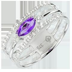 Inel Privire din Orient - model mare - ametist şi diamante - aur alb de 9K