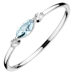 Inel Privire din Orient - model mic - topaz albastru şi diamante - aur alb de 9K