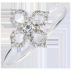 Inel Prospeţime - Crin - aur alb 9K şi diamante