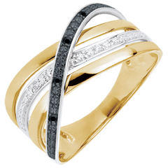 Inel Saturn Cuadri - diamante negre şi albe - aur alb şi aur galben de 9K