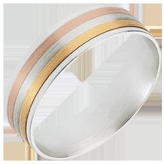 Inel Şiret Trei nuanţe de aur - trei nuanţe de aur de 18K
