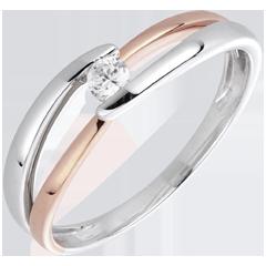 Inel Solitaire Cuib Preţios - Dimineaţă - diamant 0.10 carate - aur alb şi aur roz de 18K