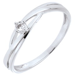 Inel solitaire Cuib Preţios - Dova - aur alb de 9K - diamante de 0.03 carate