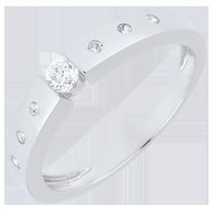 Inel solitaire Dorinţă aur alb de 9K - diamant 0.10 carate