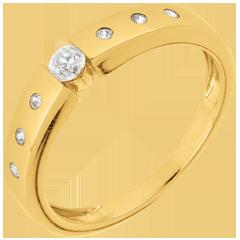 Inel solitaire Dorinţă aur galben de 9K - diamant 0.10 carate