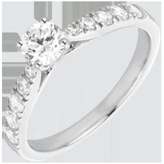 Inel Solitaire Frumoasă Iubită aur alb de 18K şi diamante - diamant 0.4 carate