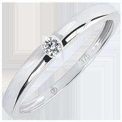 Inel Solitaire Origini - One - aur alb 9K şi diamante