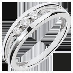 Inel trilogie abis din aur alb de 18K - 3 diamante