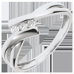 Inel Trilogie Cuib Preţios - aur alb de 18K - 3 diamante