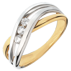Inel Trilogie Cuib Preţios - Nuferi - 3 diamante - aur alb şi aur galben de 18K