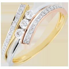 Inel Trilogie Cuib Preţios - Odinia - trei nuanţe de aur de 18K