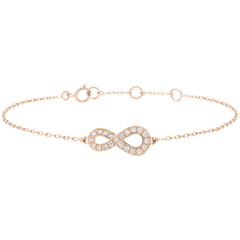 Infinity bracelet - Pink gold and diamonds - 9 carats