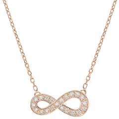 Infinity necklace - rose gold and diamonds - 18 carat