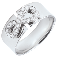 Infinity Ring - 9 karaat witgoud met Diamanten