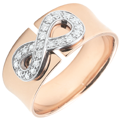 Infinity Ring - rose gold and diamonds - 9 carats