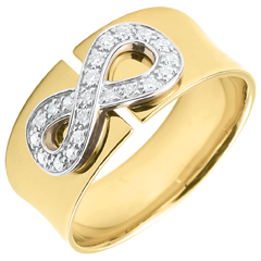 Infinity ring - Yellow gold and diamonds - 18 carats
