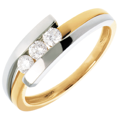 Interlocking trilogy white gold-yellow gold - 0.28 carat - 3diamonds