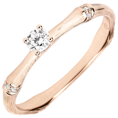 Jungle Sacrée engagement ring - 0.09 carat diamond - brushed pink gold 9 carats