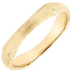 Jungle Sacrée man's wedding band - 4 mm - brushed yellow gold 18 carats