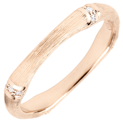 Jungle Sacrée man's wedding band - Multi diamond 3 mm - brushed pink gold 18 carats